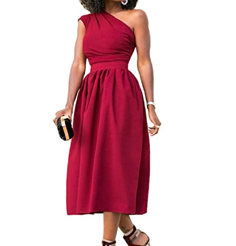 Solid Cut Pockets Length Colored Shoulder Red Out Dress Women Full Big Coolred tgFYq