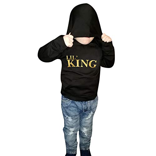 Toddler Kids Baby Boys Girls Hooded Pullover Sweatshirts Casual Mini Boss Long Sleeve Hoodie Tops With Pockets Black (Black-king, 4T) -