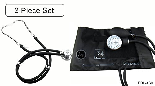 EMI EBL-430 Sprague Rappaport Stethoscope and Large Adult Manual Aneroid Sphygmomanometer Blood Pressure Cuff - Black
