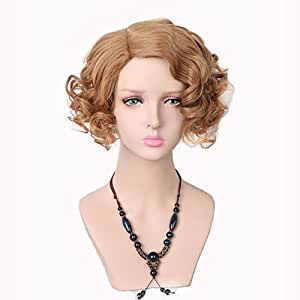 Yuehong Blonde Short Curly Wigs Synthetic Cosplay Wig