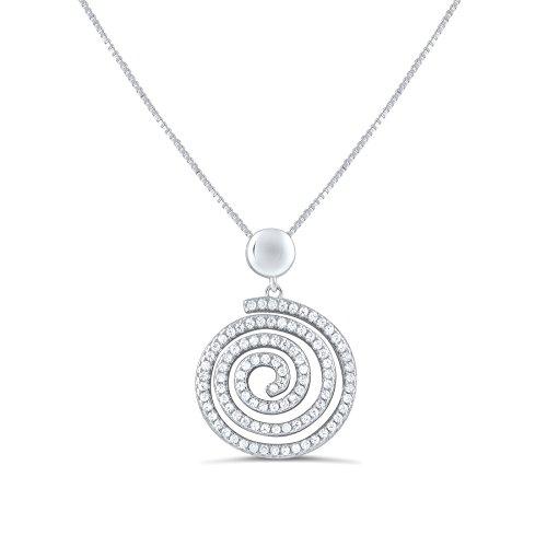 (Sterling Silver Cz Swirl Spiral Necklace 18
