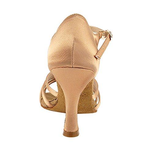 Chaussures De Pigeon Or 50 Nuances De Chaussures De Danse Tan Collection-iii, Pompes De Mariage De Soirée Confort, Chaussures De Salon Pour Le Latin, Tango, Salsa, Swing, Art De La Theather Par 50 Nuances (s9273 Tan Satin)
