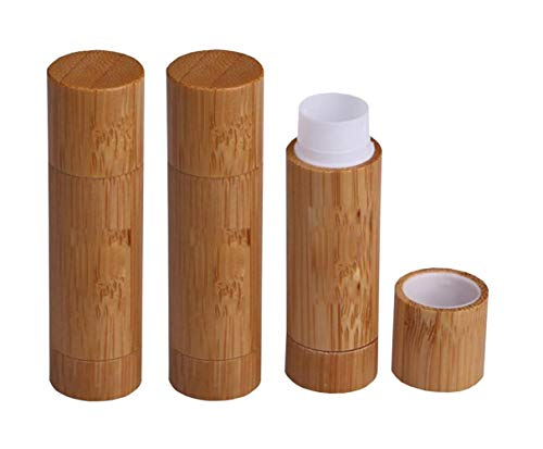 3PCS 5.5ML 0.2OZ Empty Bamboo Shell Lipstick Tubes with Cap Lip Balm Chapstick Holder DIY Cosmetic Makeup Tools Portable Refillable Durable Container for Travel Daily Life