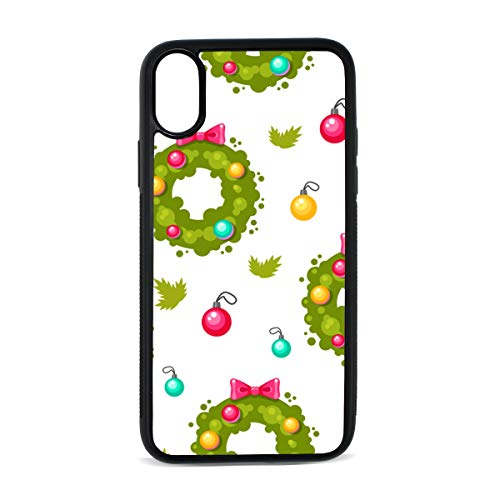 - iPhone Holiday Wreath Cartoon Romantic Atmosphere Christmas Design Digital Print TPU Pc Pearl Plate Cover Phone Hard Case Accessories Compatible with Protective Apple Iphonex/xs Case 5.8 Inch