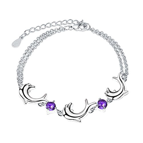 Sterling Silver Plated Cubic Zirconia Purple Amethyst White 3 Connected Dolphin charms Bracelet,Lobster clasp