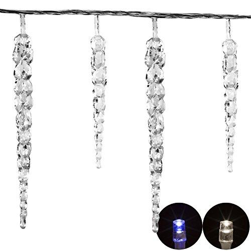 VOLTRONIC® 40 LED Lichterkette Eiszapfen in kaltweiß / blau, Dekra GS Adapter, IP44, INNEN + AUSSEN, 11m Länge