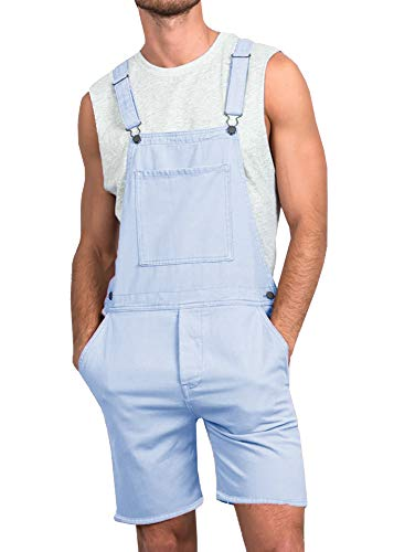 - Taoliyuan Mens Duck Bib Short Overalls Slim Fit Romper Casual Summer Button Dungaree Jumpsuit (X-Large, A-Sky Blue)