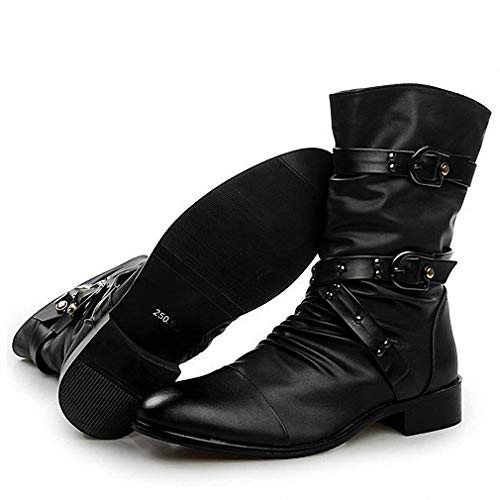 Tebapi Mens Backpacking Boots New England Style Boots Punk Motorcycle Martin Boots Luxury Genuine Leather Military Boots Men Casual Shoes Black 2A Black Plush Warm 8.5