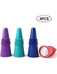 Premium Reusable Wine Bottle Stoppers, 4 PACK Colorful Silicone + Stainless Steel Wine Stopper, Beverage Bottle Stoppers, Wine Outlet Cap, Bottle Cover