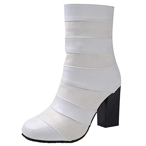 Mee Shoes Damen chunky heels Lackleder Reißverschluss Stiefel Weiß