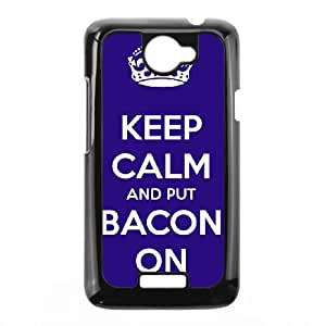 Keep Calm Bacon On HTC One X Cell Phone Case Black AQI