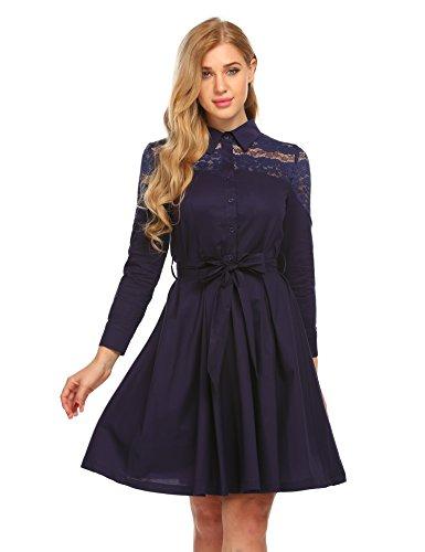 Beautytalk Women's Lace Flare A-Line Dress Long Sleeve Knee High Dress With Waistband