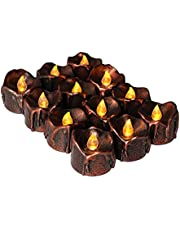 12 Pcs Halloween Decorations Candles Tea Lights,URMAGIC Flickering Flameless Halloween Candles,Amber Yellow Battery Operated LED Tea Lights,Realistic Black Wick,Fake Candles for Halloween Decor