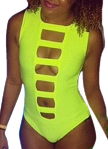 Happy Sailed Women Cool Summer Mansion Neon One-piece Swimsuit Prime, Medium Green