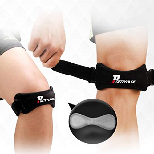 PrettyCare Knee Support Patella Strap (Unique Silicon Material with 2 Pack by Fully Adjustable Tendon Brace Band Pad - Pain Relief for Running, Arthritis, Jumper, Tennis, Basketball, ()