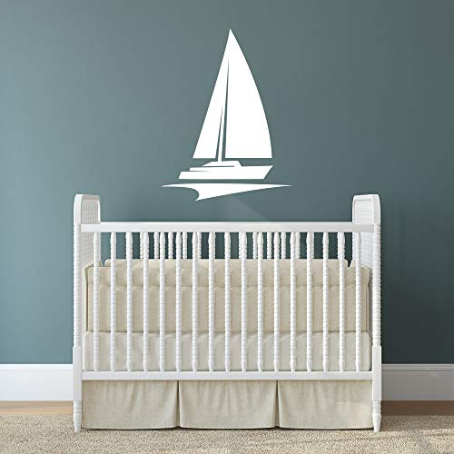 Nautical Theme Nursery Wall Decal | Sailing Sailboat Vinyl Wall Art Decor | LARGE 21 in x 20 in Sail Boat | Wall Sticker for Baby Boys or Girls Room | Kids Playroom Ocean Themed Home Decor (White) ()