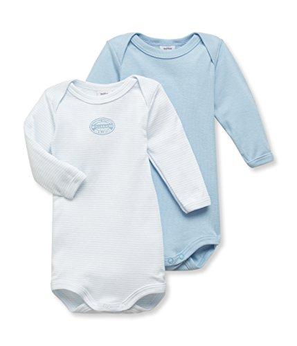 - Petit Bateau Baby Boys' 2-pk L/S Bodysuits - Blue/White - 6 Months