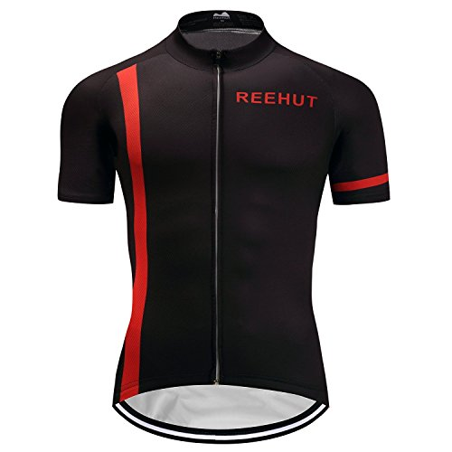REEHUT Mens Breathable Cycling Jersey Biker Short Sleeve Shirt Quick Dry Full Zip Men's Bicycle Jacket With Pockets