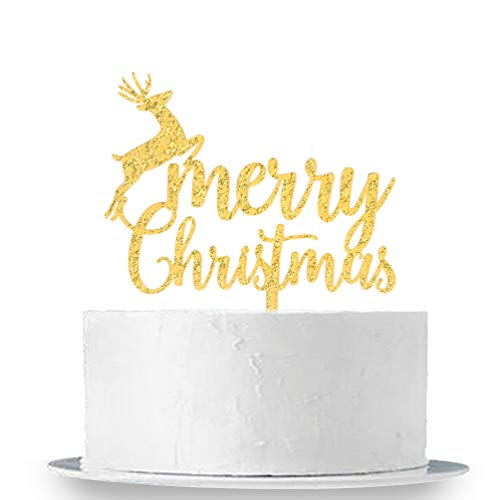 - Gold Glitter Merry Christmas Cake Topper - Happy New Years Party Props Bunting - Christmas Decoration Supplies