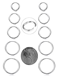Milacolato 5Pairs Stainless Steel Basic Endless Hoop Earrings for Mens Womens Cartilage Piercing Nose Tongue Body Ring 8-16mm