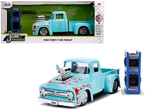 1956 Ford F-100 Pickup Truck Die-cast 1:24 Jada Toys 8 inch Red w Blower