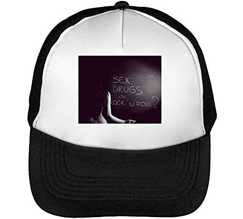Sex Drugs Or Rock N Roll Gorras Hombre Snapback Beisbol Negro Blanco