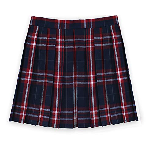 Women School Uniforms plaid Pleated Mini Skirt, Waist(84cm/33inch) 3XL, College Red -