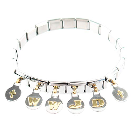 (FROG SAC WWJD Bracelets for Men and Women - 6 Pieces Stainless Steel What Would Jesus Do Bracelets - Italian Link WWJD Charm Bracelets - Religious Bracelet Gifts - Great Party Favors (Dangle))