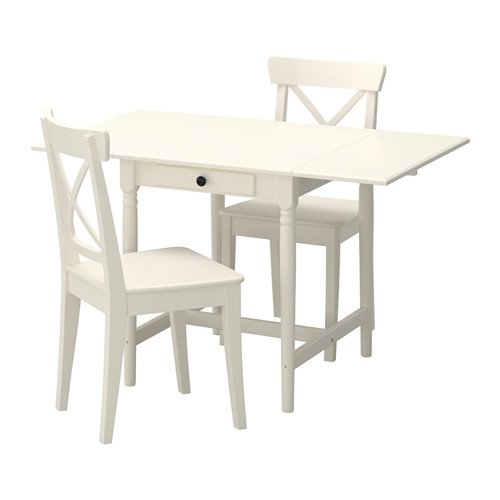 IKEA Table and 2 chairs, white 10204.201117.2630 Pine Drop Leaf