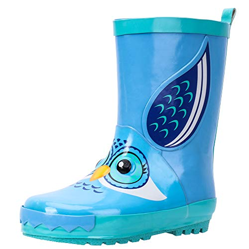 ALEADER Kids Waterproof Rubber Rain Boots for Girls, Boys & Toddlers with Fun Prints & Handles Blue/Owl 9 M US Toddler