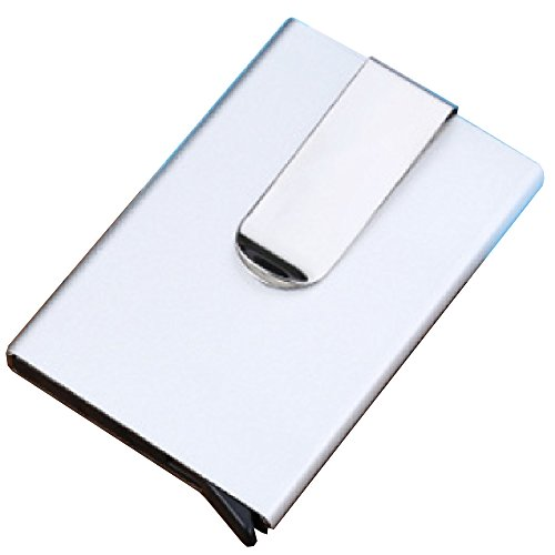 MiraoShop RFID Money Clips Slim Mini Wallet and Card Holder for Men Fashion Card Case Silver