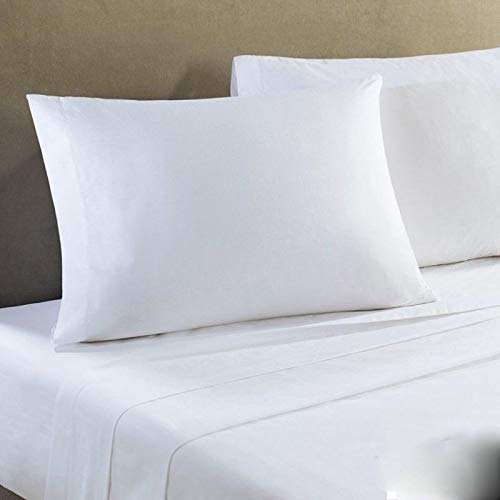 Globe House Products GHP 3-Pcs 108''x110'' T-250 Percale California King Size Bright White Flat Sheets