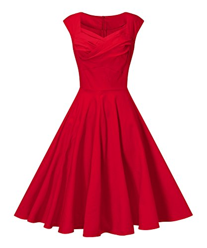 V fashion Women's 50s Retro Cap Sleeve Party Swing Dress Sleeveless Vintage Tea Dresses