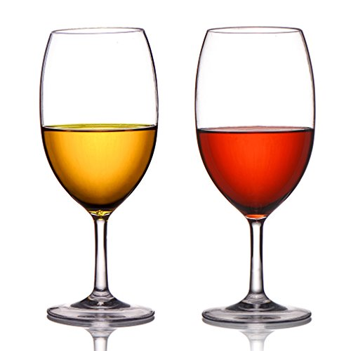 (MICHLEY Unbreakable Wine Glasses, 100% Tritan Plastic Shatterproof Wine Glasses, BPA-free, Dishwasher-safe 20 oz, Set of 2)