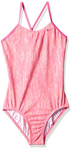 Nike Swim Big Girls' Crossback One Piece Swimsuit, Laser Fuchsia Rush Heather, - Fuchsia Kids Little Apparel