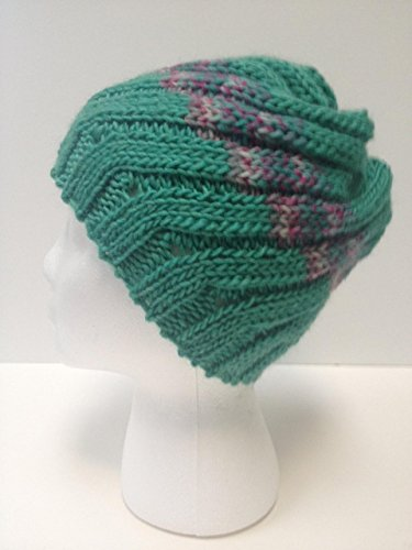 Design Wool Blend - Handknit Hat - Silk & Wool Blends- Spiral Design -- One of a Kind