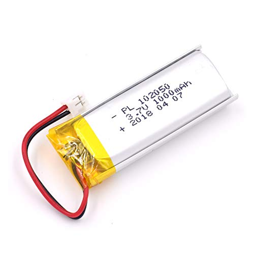 (3.7V 1000mAh 102050 Lipo battery Rechargeable Lithium Polymer ion Battery Pack with JST Connector)