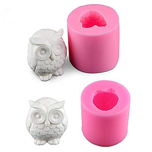 2 Pack Owl Candle Mold, Buytra 3D Silicone Mold for Homemade Candle, Mini Soap, Lotion Bar, Fondant, Chocolate, Candy, Cake Decorating, Polymer Fimo Clay Etc (Silicone Candle)