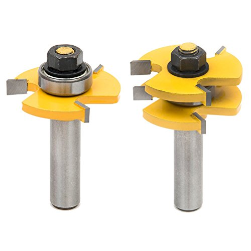 SROL 2Pcs Tongue & Groove Router Bit Set Wood Door Flooring 3 Teeth...