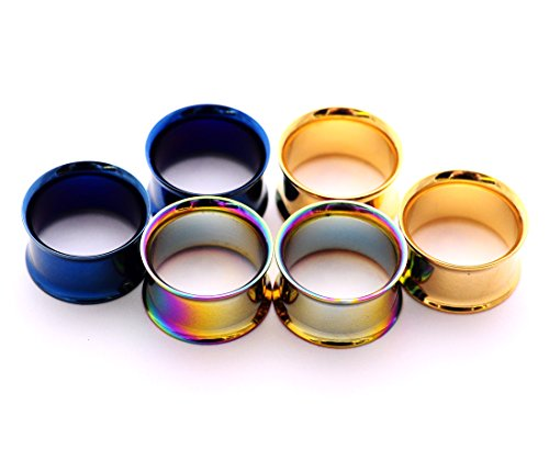 Pair Steel Double Flare Tunnels - Mystic Metals Body Jewelry Set of 3 Pairs Steel Double Flare Tunnels - 1