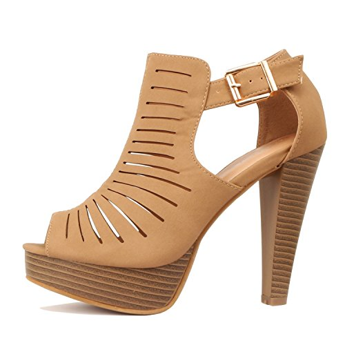 Womens Heels (Guilty Shoes Cutout Gladiator Ankle Strap Platform Fashion Heeled Sandals, Tan PU, 6.5)