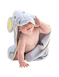 Little Tinkers World Elephant Hooded Baby Towel, Natural Cotton, Large 30x30-Inch size