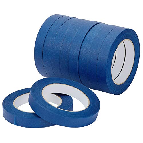 LICHAMP 10-Piece Blue Painters Tape 3/4 inch Wide, Blue Painter's Tape Bulk Multi Pack, 0.75 inch x 55 Yards x 10 Rolls (550 Total Yards)