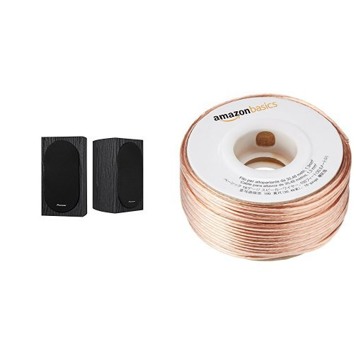 Pioneer SP-BS22-LR Andrew Jones Designed Bookshelf Loudspeakers and AmazonBasics 16-Gauge Speaker Wire – 100 Feet Bundle