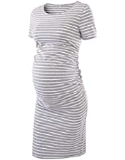 Oklan Bodycon Maternity Dress Casual Pregnancy Clothes Cotton Ruched Sides Dress Casual Short & 3/4 Sleeve Dress