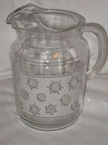 Vintage Federal Glass Frosted White Snowflake 40 oz. Pitcher - Federal Glass Glass Pitcher