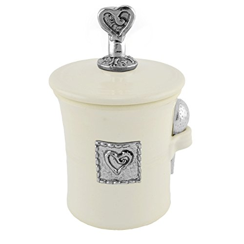 Oregon Stoneware Studio Heart Salt Pot with Pewter Finial, Whipping -