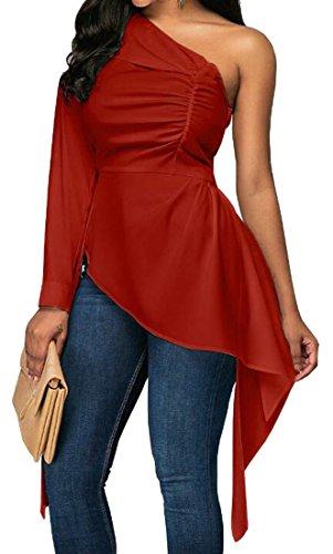 Bordo Donne Spalla Misura Grattacielo Colore Di Irregolare Sottile Rosso Solido Vino Della Cromoncent Vestito xHpHwqXf