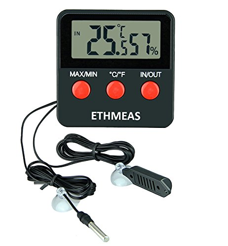 ETHMEAS Digital Thermometer and Hygrometer for Reptiles Terrarium pet keeping, Digital Indoor Outdoor Temperature Gauge and Humidity by ETHMEAS
