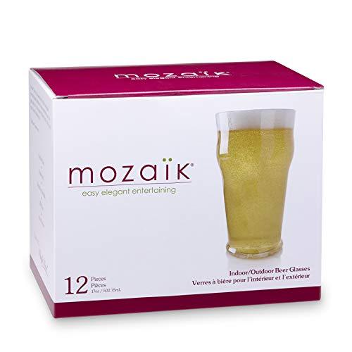 (Mozaik Premium Plastic 17 oz. Beer Glasses, 12)
